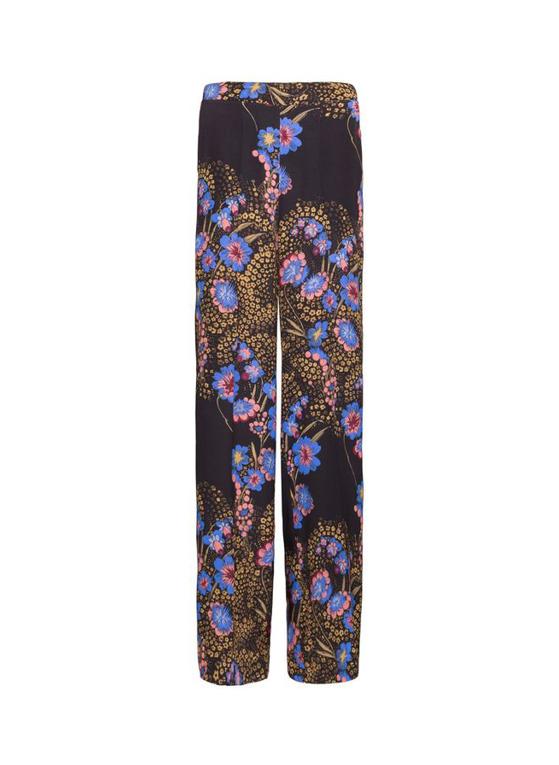 Pantalon palazzo en soie florale