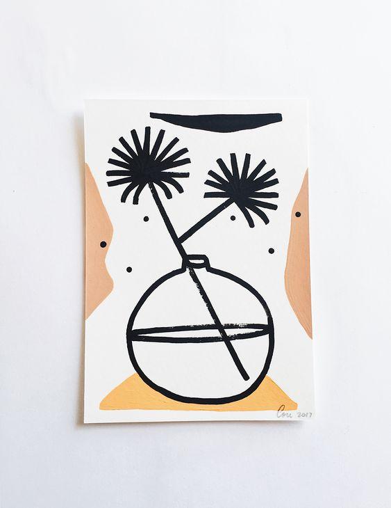 Lot de 4 cartes postales peintes à la main
