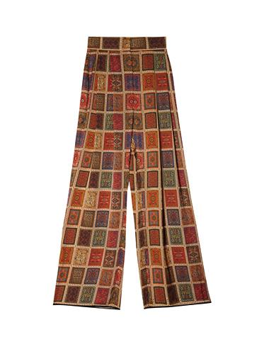 Pantalon taille haute imprimé tapis