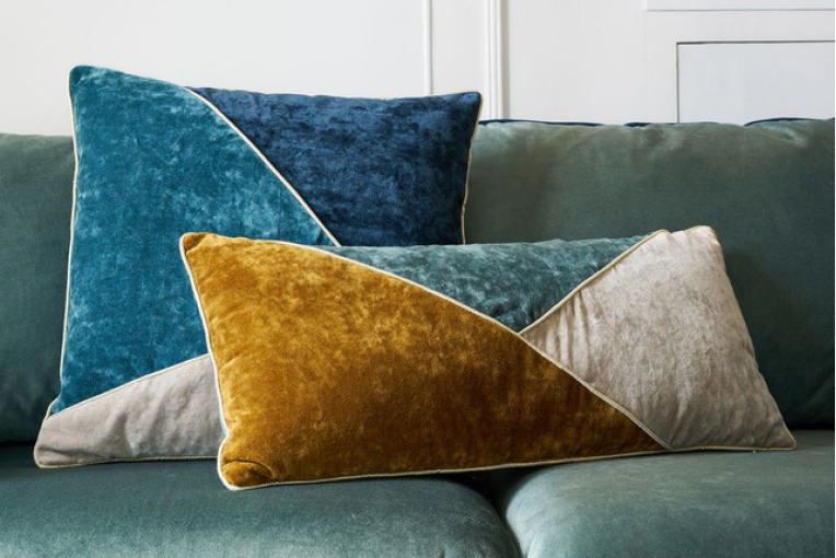 Coussin patchwork velours