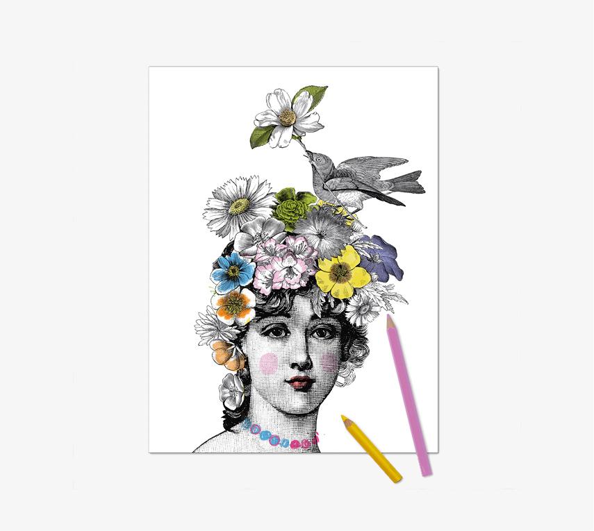 Gravure à colorier Flora