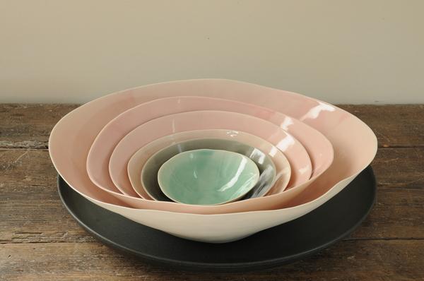 Série de bols en porcelaine Shell