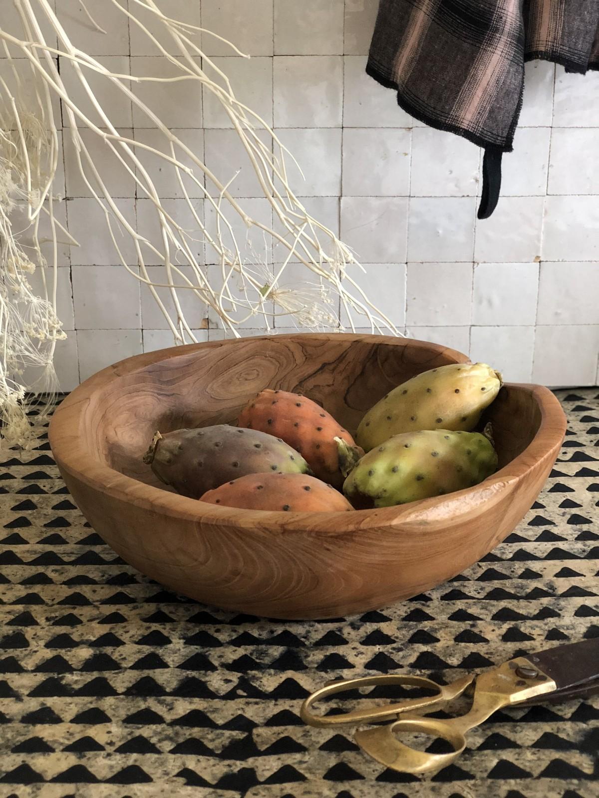 Saladier doux en bois brut