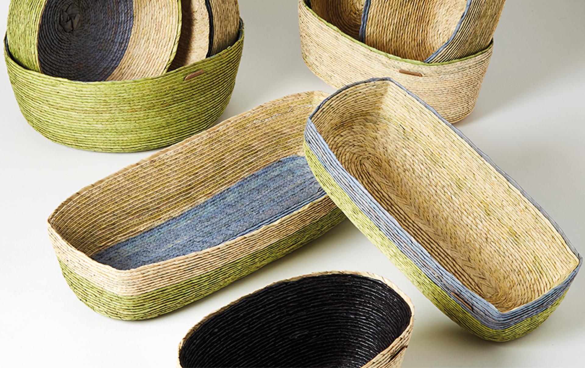 Panier oval en fibres de palmier