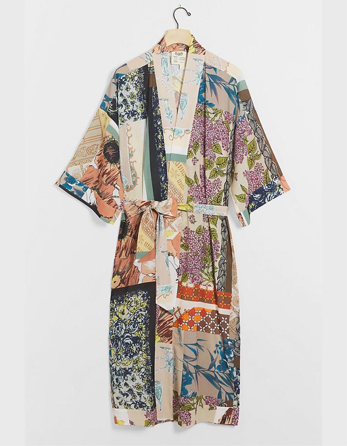 Peignoir kimono à patchwork Kasey