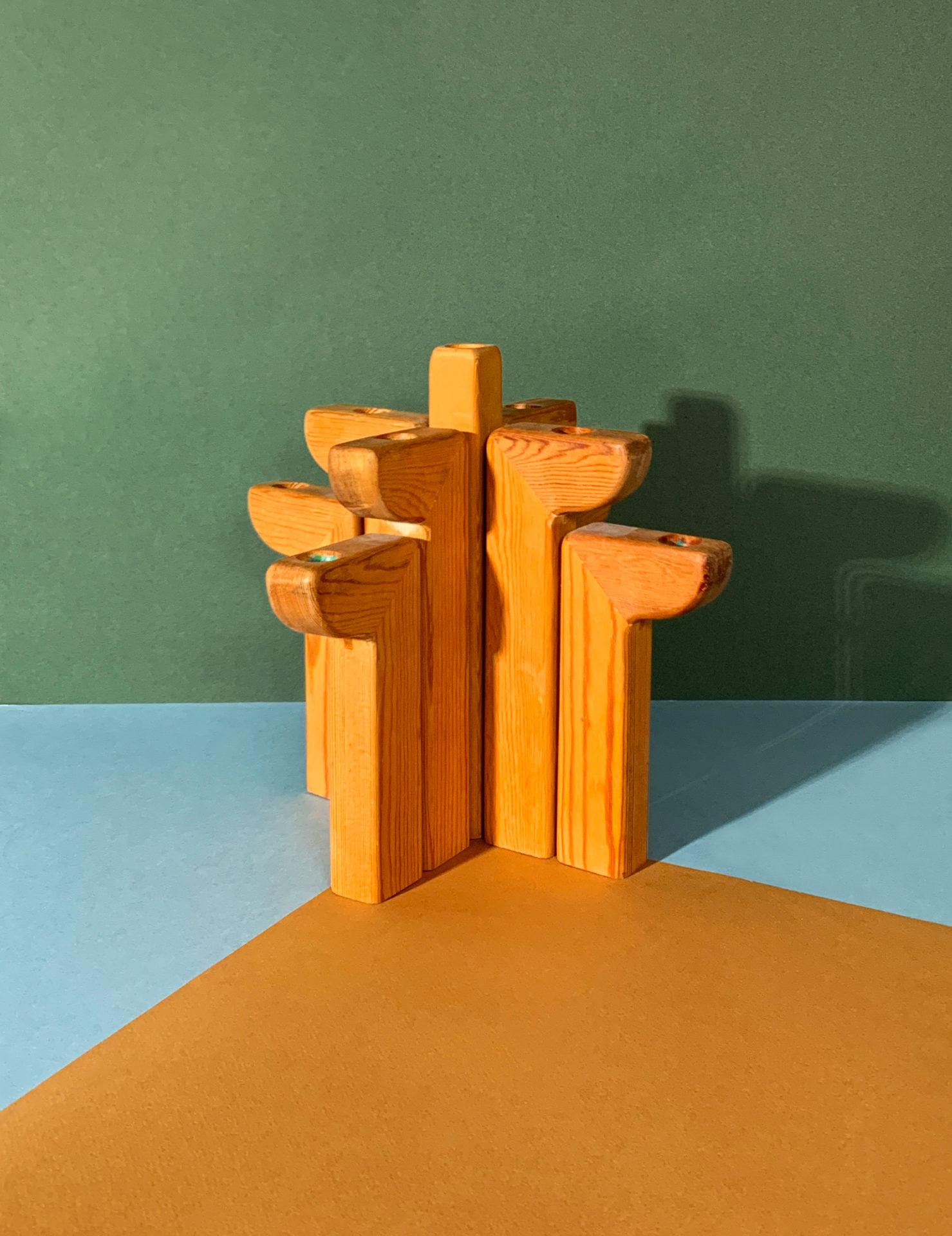 Chandelier en bois, 9 bougies