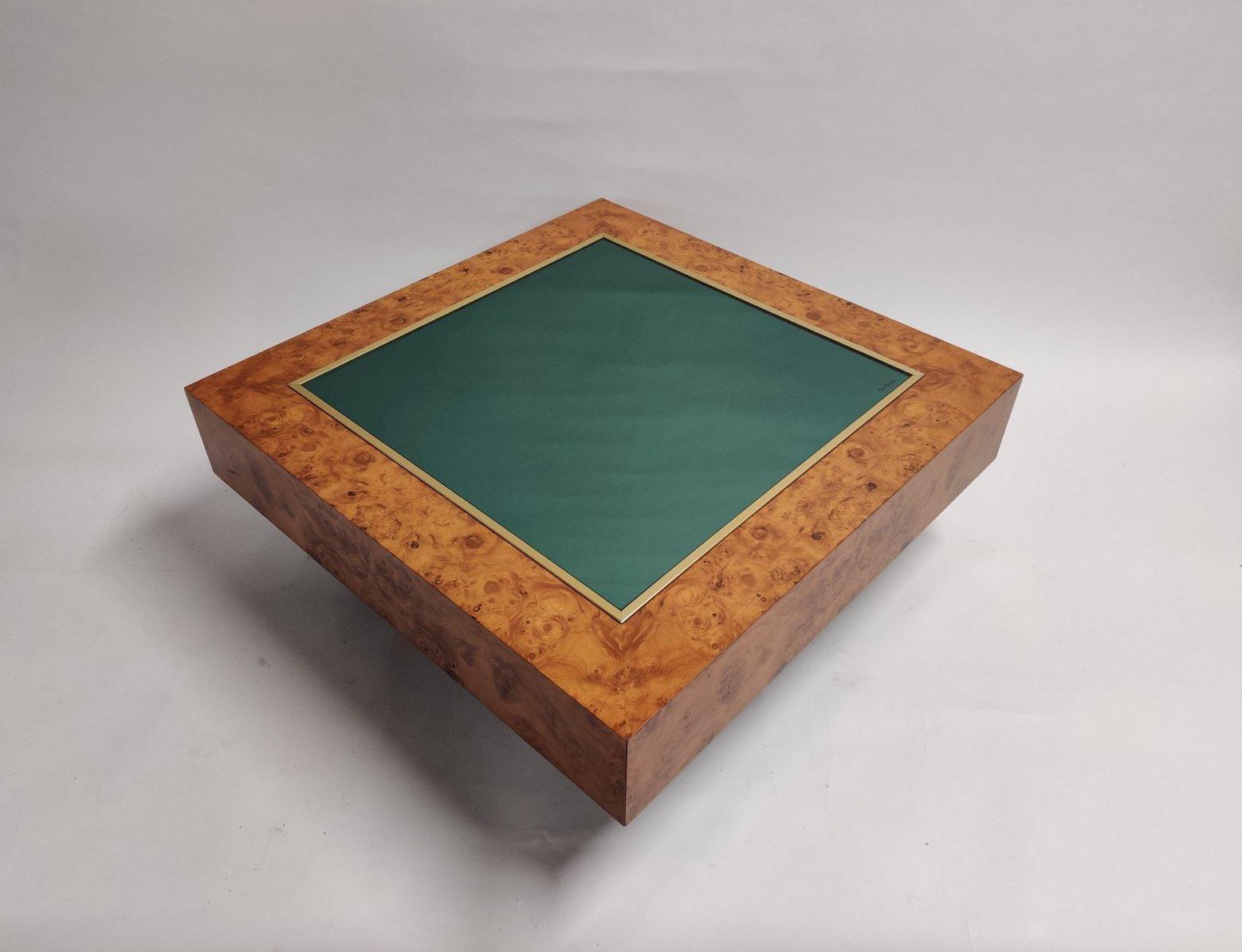 Table basse vintage en laiton, verre et broussin
