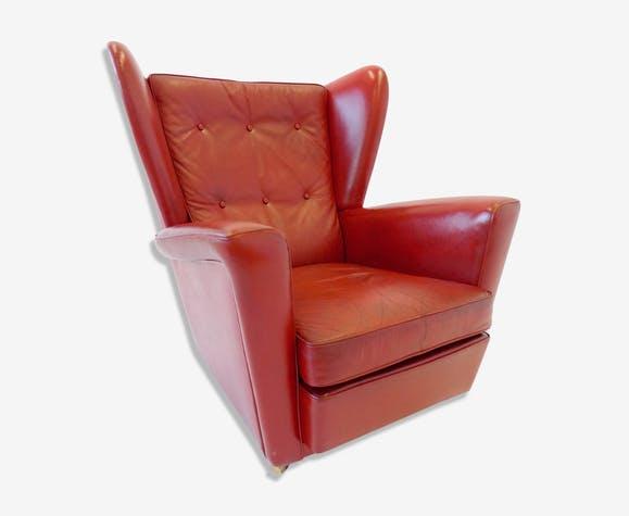 Fauteuil en cuir rouge Howard Keith